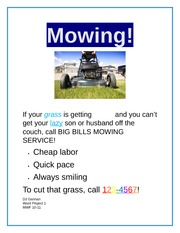 Mowing flyer