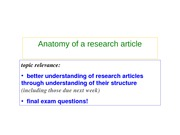 RSCH 2501 Week 7 - Anatomy of Research Article