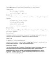 Marketing Management- Class Notes- Behavioral Data and survey research