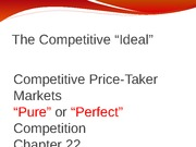 Chapter 22 Competitive Price Taker Markets