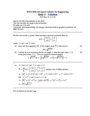 ENGI 4430 Quiz 1 Solutions