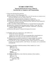 FE1008 Tutorial 1 Answers