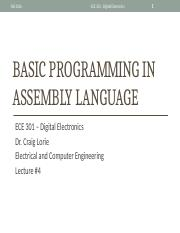 Lecture 24 - Basic programming in Assembly