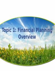 Topic 1 Financial Planning Overview