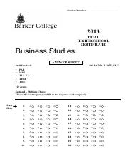 Barker 2013 Business Studies Trials & Solutions