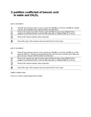 Partition Coefficient of Benzoic Acid in Water and CH2Cl2
