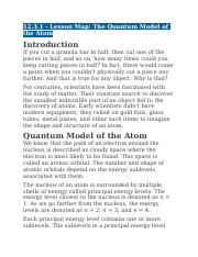 12.3.1 - Lesson Map - The Quantum Model of the Atom