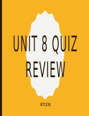 Unit 8 Quiz Review