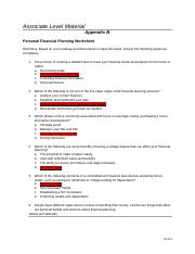 Personal Financial Planning Worksheet