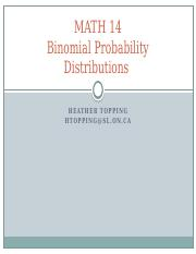 MATH 14 Lecture 6 (Binomial Probability Distributions)(2)