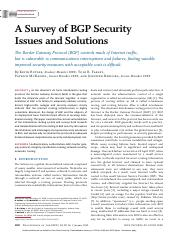 11. Kevin Butler, Toni Farley, Patrick McDaniel, and Jennifer Rexford. A Survey of BGP Security Issu
