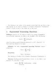 Exponential Generating Functions
