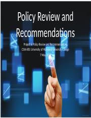 Project 6 - Policy Review & Recommendations