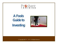 A Fools Guide To Investing