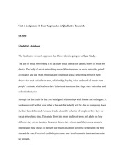 SS3150 Unit 6 Assignment 1 Four Approaches to Qualitative Research