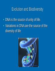 Evolution and Biodiversity Lecture  4 & 5