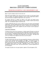 LEAN CONCEPTS - PROCESS CAPACITY COMPUTATIONS - MPH CASE