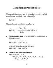 Conditional Probailties Notes