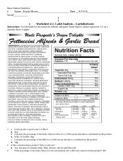 Carbohydrates label comparrison nutrition spring 2017 ch.4.docx