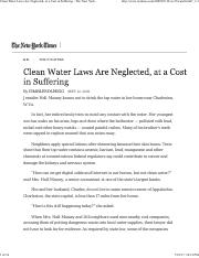 Clean Water Laws Are Neglected, at a Cost in Suffering - The New York Times.pdf