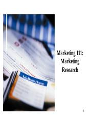 MKT 111 Marketing Research (Spring 2016)