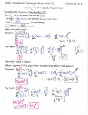 Notes Day 5 Fundamental Thm. of Calculus