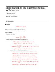 Solutions to Thermodynamics of Materials