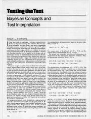 Bayesian Concepts and Test Interpretation - Thorndike