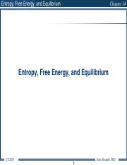 Chapter 14 Chemical Thermodynamics - Entropy - GWU