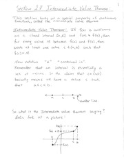 Section 2.7 Intermediate Value Theorem