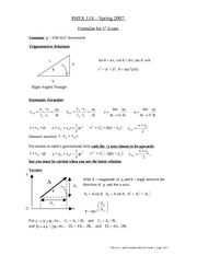 Formula Sheet for Exam 1 [Spring 2008]