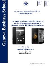 FMA 601 Final Assignment - Foreign Market Analysis  Rami &  Raed