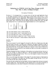 Test 1B Solution Spring 2011 on General Physics 2 on Electricity and Magnetism