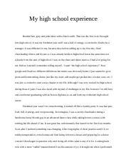 Essay On My High School