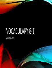 Vocabulary 8-1