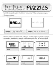 Ideas Rebuswuzzlepuzzleworksheet Pdf Rebus Puzzles Each Little Rebus Puzzle Made Of Either Letters Or Words Contain A Hidden Word Phrase Or Saying Course Hero