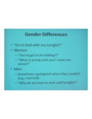 PSYCH 360 Social Psychology - Gender Differences