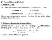 Lecture Notes on Tangent Lines and Velocity