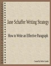 Jane Schaffer Paragraph Writing_Student Notes