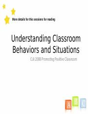Understanding Classroom Behaviors & Situations by group 1