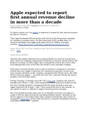 Apple expected to report first annual revenue decline in more than a decade