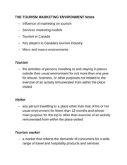 THE TOURISM MARKETING ENVIRONMENT Notes