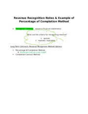 Revenue Recognition Notes & Example of Percentage of Completion Method