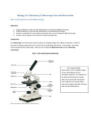 BIO 211L Laboratory 3 Microscope Use and Observati