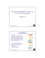 Chapter 19 Heat Engines, Fridges, Entrpy, 2nd Law of Thermo