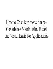 3 Lecture How To Calculate The Variance-Covariance Matrix