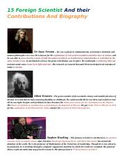 15 Foreign Scientist And their Contributions