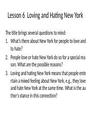 Lesson 6 Loving and hating New York