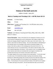 GLY 2100 History of Earth & Life - Spring 2011