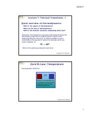 Lectures 7  8 Thermal transitions [Compatibility Mode]